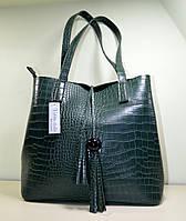 Модная сумка зеленая рептилия из эко-кожи, модель осень-зима 2018