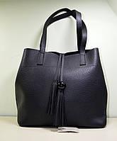 Модная сумка черного цвета из эко-кожи, модель осень-зима 2018
