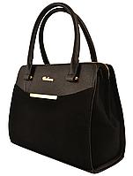 L-S Сумка женская нарядная классическая черная замшевая