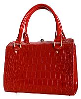 L-S Сумка женская изящная модная красная крокодил лаковая