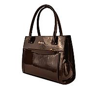 L-S Сумка коричневая лаковая классическая стильная женская