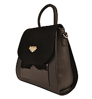 L-S Сумка рюкзак школьный портфель женский черный замш молодежный