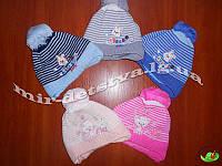 Шапки детские для новорожденных на флисе оптом р.42-44 см (5 шт в упаковке)