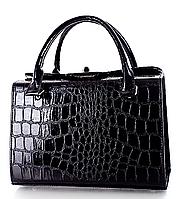 L-S Сумка женская классическая черная крокодил лаковая изящная