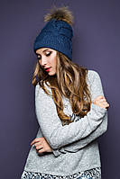 Тепла в'язана синя шапка з хутром Sansy