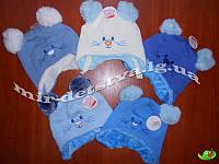 Шапки детские для новорожденных на махре оптом р.46-48 см (5 шт в упаковке)