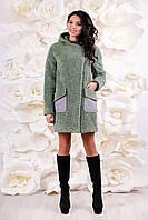 Пальто-шуба женская зимняя оливковая  искусственный мех