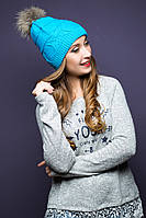 Тепла в'язана голуба шапка з хутром Sansy