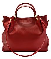 L-S Сумка женская красная мягкая вместительная обьемная стильная