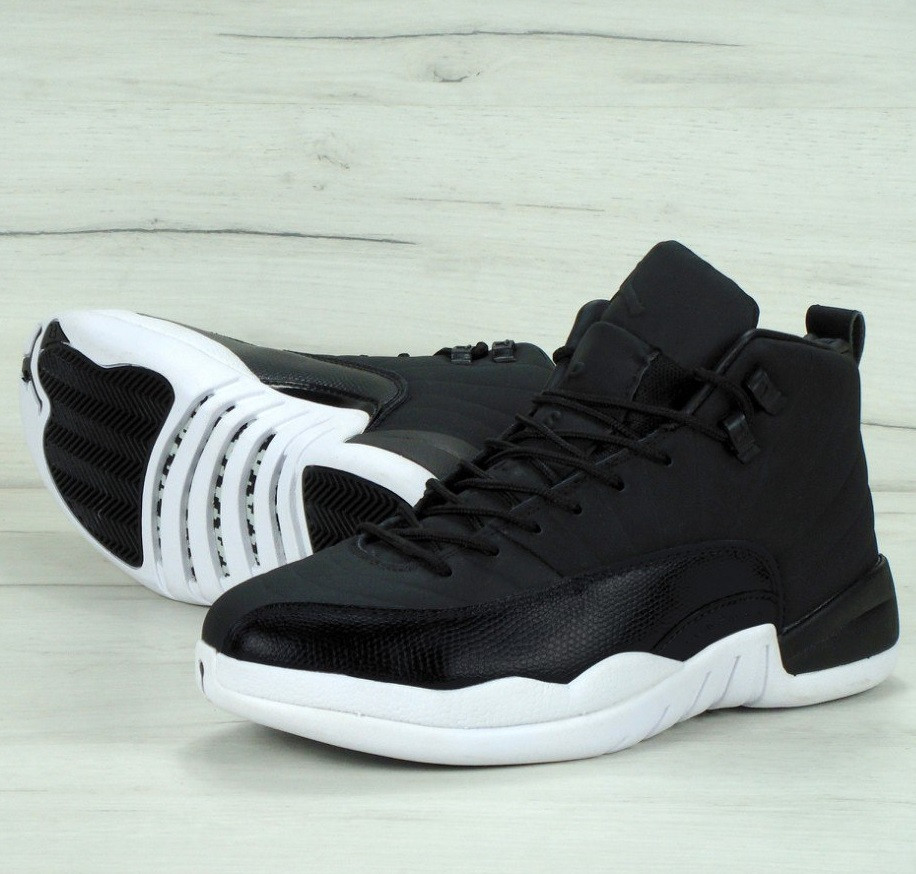 Мужские кроссовки Nike Air Jordan Retro 12 Black/white. Живое фото. Топ качество (Реплика ААА+)