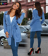 Костюм женский кардиган+лосины, материал - ангора, джинс стрейч, цвет - синий