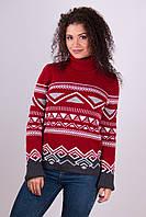 Женский теплый свитер Слойка вишня - светло-серый - графит - белый