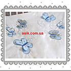 Шикарная детская сменная постель голубого цвета с вышивкой (летающие бабочки)., фото 3
