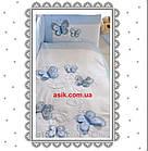 Шикарная детская сменная постель голубого цвета с вышивкой (летающие бабочки)., фото 2