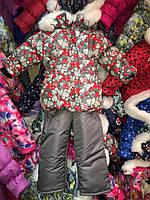Зимний комбинезон (костюм) для девочки Серый с сердечками