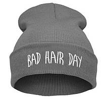 Модная женская трикотажная шапка BAD HAIR DAY серого цвета