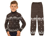"""Вязаный комплект: свитер + гамаши """"Исландия"""" для мальчика, цвет темно-серый"""