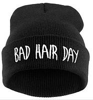Модная женская трикотажная шапка BAD HAIR DAY черного цвета