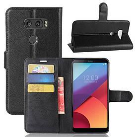 Чехол книжка для LG V30 H930 боковой с отсеком для визиток, черный