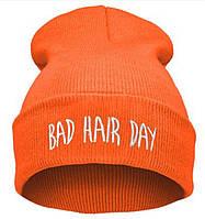 Модная женская трикотажная шапка BAD HAIR DAY оранжевого цвета