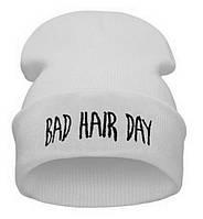 Модная женская трикотажная шапка BAD HAIR DAY белого цвета