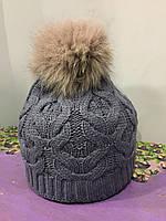 Подростковая шапка с натуральным помпоном для девочки