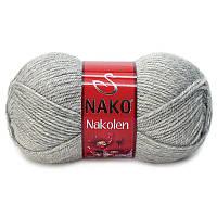 Турецкая пряжа для вязания Nako Nakolen (НАКОЛЕН)  полушерсть 195 серебрянный