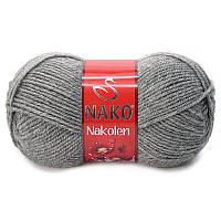 Турецкая пряжа для вязания Nako Nakolen (НАКОЛЕН) полушерсть 194 средне-серый
