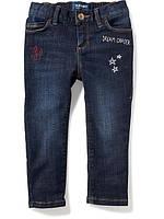 Детские джинсы скинни Skinny с вышивкой Old Navy для девочки