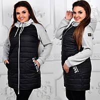 Женское тёплое осеннее демисезонное длинное пальто куртка Love чёрное батал больших размеров