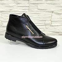 Женские демисезонные ботинки из натуральной кожи черного цвета, на плоской подошве