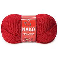 Турецкая пряжа для вязания Nako Nakolen (НАКОЛЕН)  полушерсть 1175 красный