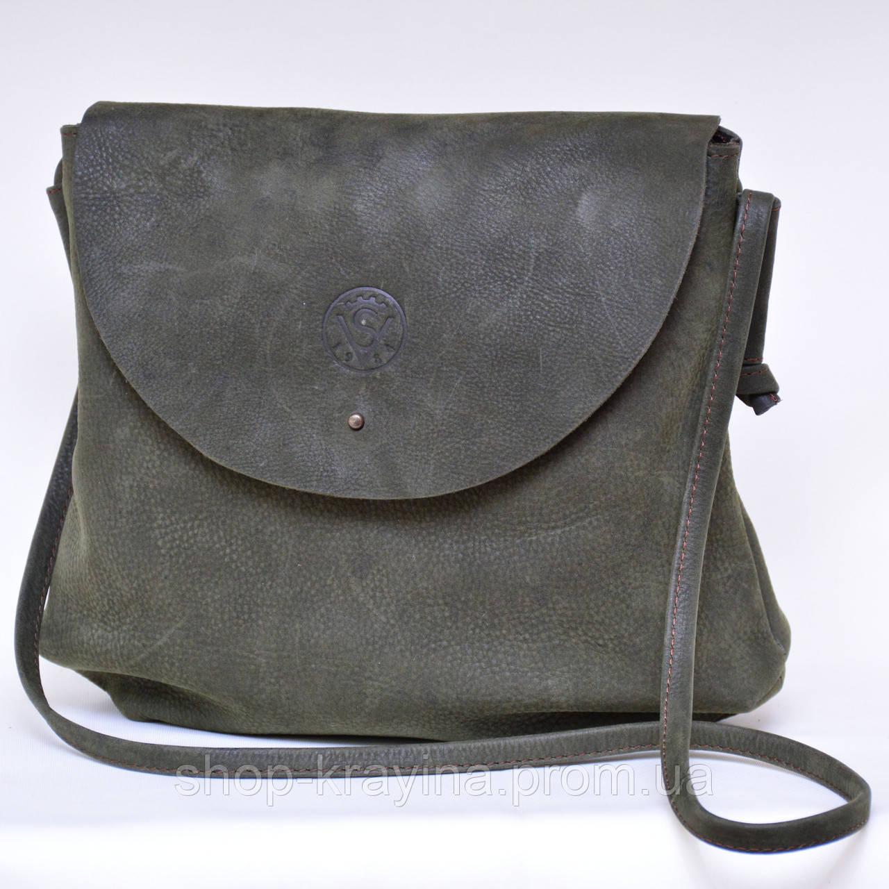 Кожаная сумка VS129  gray brown 28х25х9 см