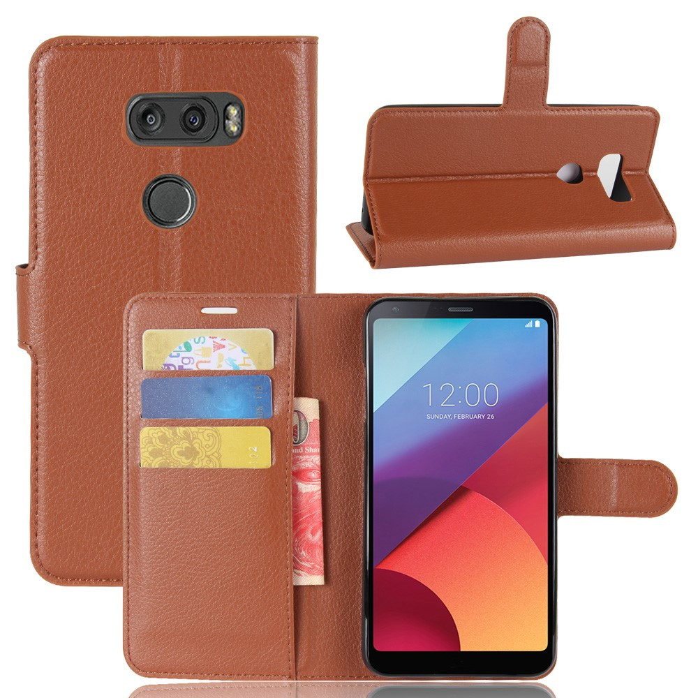 Чехол книжка для LG V30 H930 боковой с отсеком для визиток, коричневый