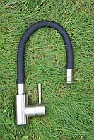 Смеситель для кухни Germece 38 OP SUS Black с гибким изливом. Нержавеющая сталь. Матовый.