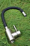 Смеситель для кухни Germece 7105 BW черный гибкий излив, фото 4