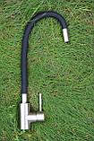 Смеситель для кухни Germece 7105 BW черный гибкий излив, фото 3