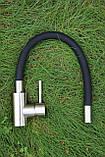 Смеситель для кухни Germece 7105 BW черный гибкий излив, фото 2