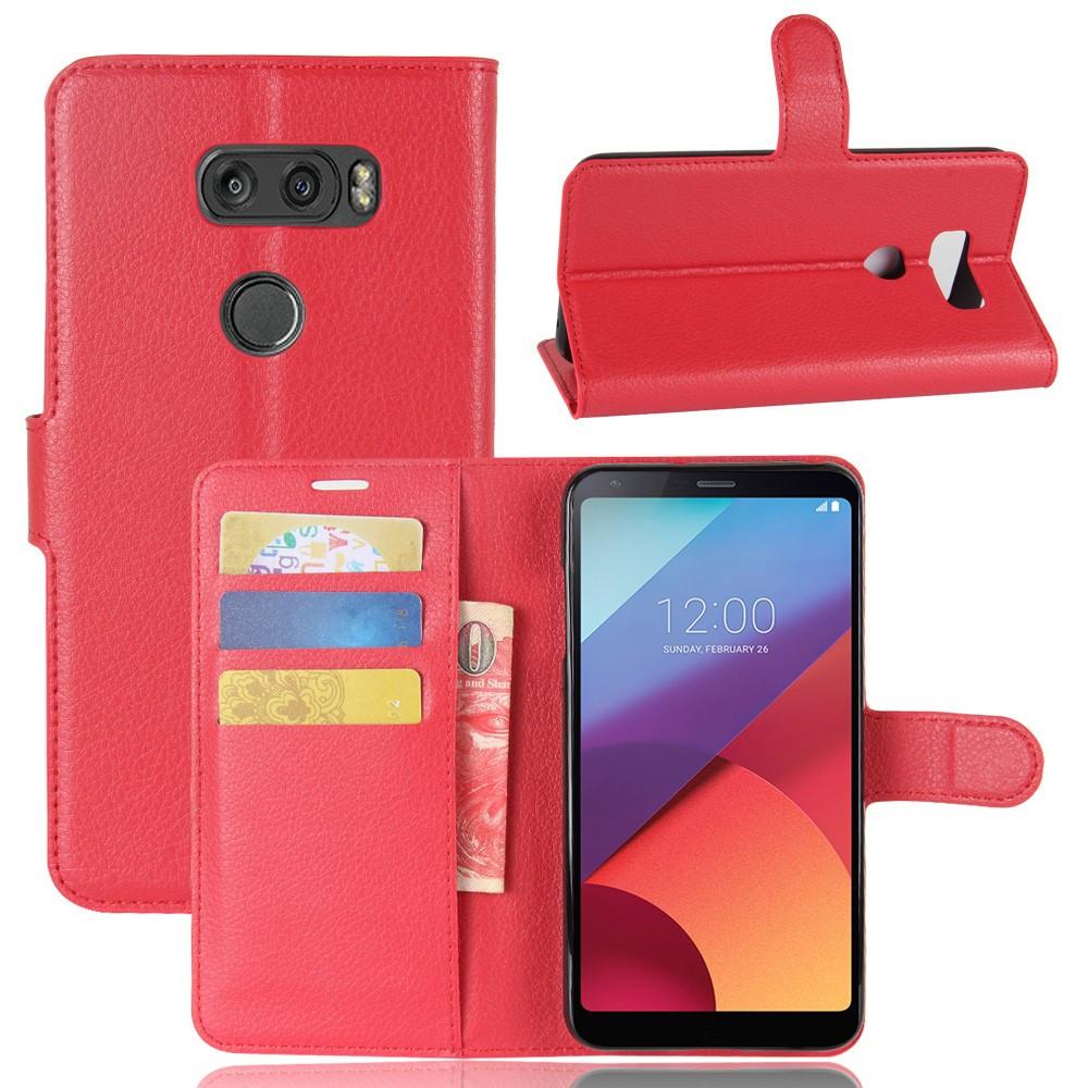Чехол книжка для LG V30 H930 боковой с отсеком для визиток, красный