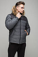 """Мужская зимняя куртка """"Riccardo"""" серая SHORT premium-G (new)"""