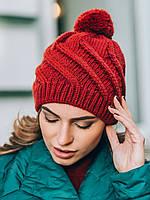 Молодіжна червона в'язана шапка з бомбоном Lablis