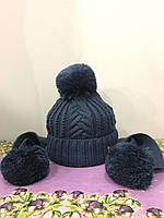 Детская шапка с ушами-шарфом для девочки
