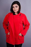 Гармония. Женское пальто плюс сайз. Красный.