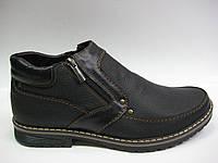Кожаные мужские зимние ботинки на двух молниях ТМ Este, фото 1