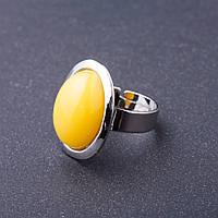 """Кольцо Янтарь (имтиация) гладкая оправа плоская """"М"""" овальный камень 2,2*1,7см без р-р"""