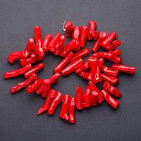 Коралл красный веточки крупные  на леске для рукоделия L-40см d-8мм l-4см (+-)