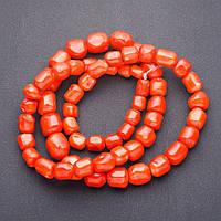 Бусины натуральный камень Коралл оранж крупный на увеличение галтовка округлая на нитке для рукоделия L-90см d-9-18мм