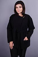 Гармония. Короткое пальто для женщин плюс сайз. Черный.