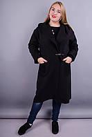 Сарена. Стильное пальто для женщин с пышными формами. Черный.