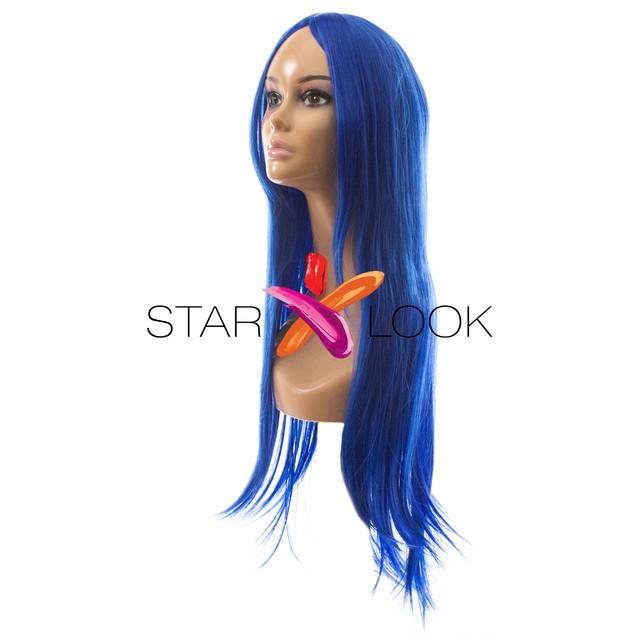 Парик синий без челки 70 см